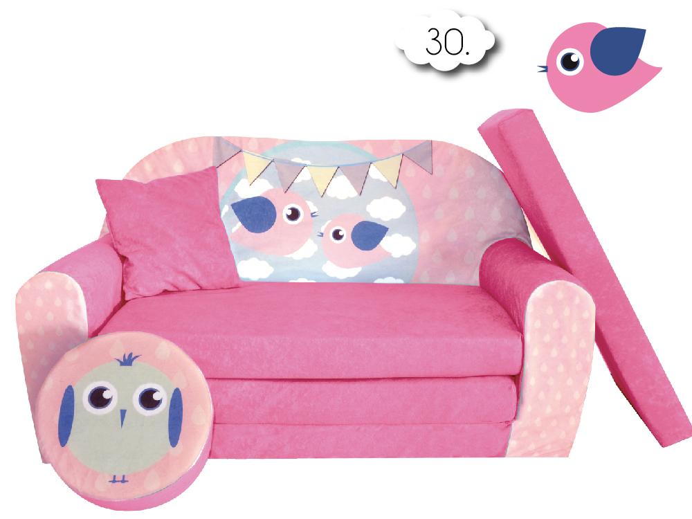 Sofa Kanapa Dla Dzieci Rozkladana Bird Pink